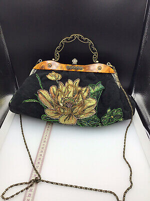 £9.99 • Buy Leko London Vintage Style Beaded Evening Bag Gorgeous Gold Green Colours Pretty