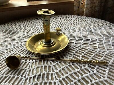 £9.95 • Buy Vintage/ Antique Brass Candle Holder With Brass Vintage Candle Snuffer