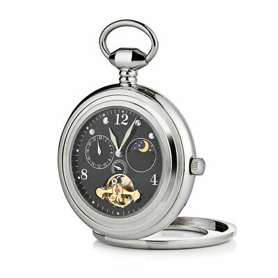 £40 • Buy A. E. Williams Pocket Watch Black Face Sun And Moon Phase New Boxed