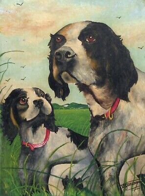 £93.49 • Buy Vintage French Oil Painting, Dogs, Hunting Scene, Landscape, Signed Vigneron
