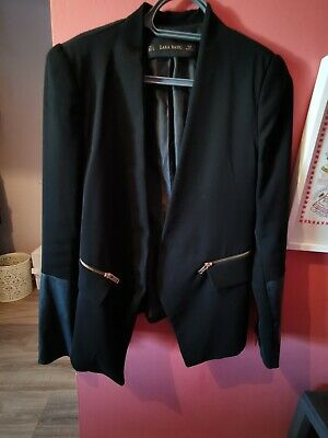 £2 • Buy Zara S Jacket With Gold Zip Pockets And Faux Leather Sleeves