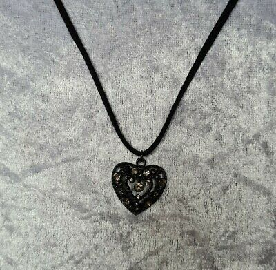 £2.49 • Buy Black Necklace With Rhinestone Heart Pendant, Faux Velvet Cord. In Excellent Con
