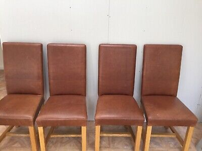 £500 • Buy Soho Halo Brown Leather Dining Chairs X4