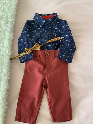 £2 • Buy Baby Boy Shirt, Bow Tie & Chinos Set Age 6-12 Months
