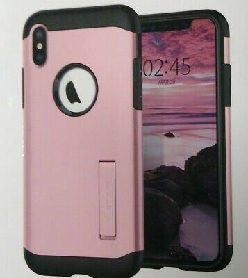 AU14.62 • Buy Spigen Slim Armor Case W/ Kickstand Rose Gold For IPhone XS Or X - NEW  🆓 🚢