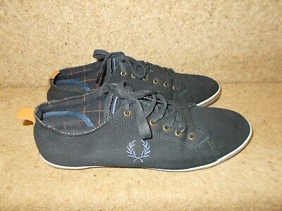 £22.99 • Buy Fred Perry Real Leather Navy Canvas Trainers Shoes Size 9 UK 43 Eur VGC