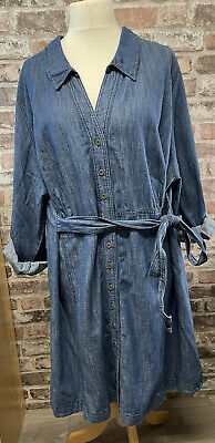 £17.50 • Buy Simply Be Glamorosa Denim Dress Long Sleeves Turn Up Tab Size 28 Button Front