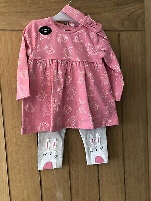 £7.99 • Buy New Baby Girls Bluezoo / Debenhams Pink Bunny Rabbit 3 Piece Outfit 6-9 Months
