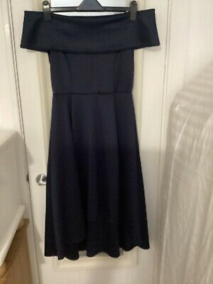 £8 • Buy Boohoo Navy High Low Bardot Fit And Flare Dress Size 14