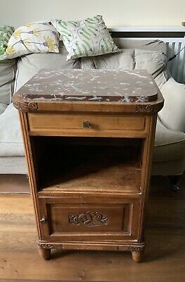 £30 • Buy Antique French Marble Top Bedside Cabinet, Prob. Walnut, Lamp Table, Side Table