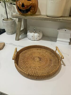 £13.20 • Buy Woven Round Serving Tray Rattan Table Display Food Fruit Dinner Wicker Basket