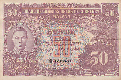 £0.99 • Buy #Malaya And The Straits Settlement 50 Cents 1941 P-9 AVF King George VI