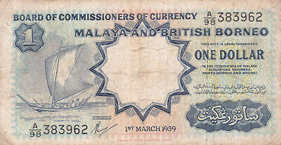 £0.99 • Buy #Board Of Malaya And British Borneo 1 Dollar 1959 P-8 AF+ Arm Of The States