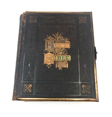 £64 • Buy 19th Century Antique Family Holy Bible And New Testament With Brass Fittings