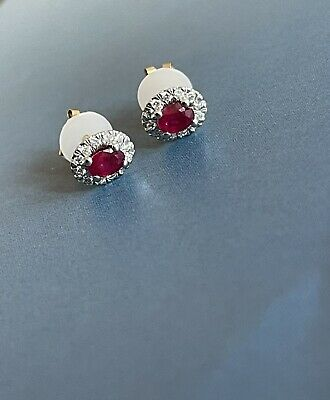 £179 • Buy 9ct Yellow Gold Diamond Ruby Earrings Oval Halo Cluster Studs