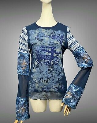 AU78.56 • Buy SAVE THE QUEEN Mesh Knitted Top Size S Multicolor Floral Abstract Long Sleeve