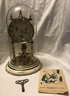 £36.30 • Buy Vintage Germany Kundo Anniversary 400 Day Clock Glass Dome Floral Instructions