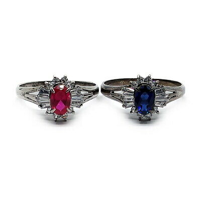 AU5.66 • Buy No Brand Ring 2 Pieces Set 925 Synthetic Ruby Sapphire 1815661