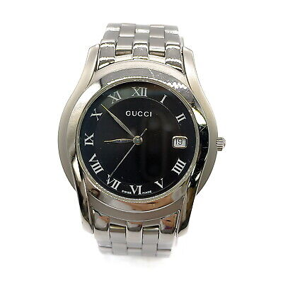 AU61.25 • Buy Gucci Watch  5500M Operates Normally 34.8mm Men's Black X Silver 1812593