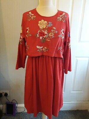 AU9.18 • Buy Asos Dress Size 14 Embroidery Detail
