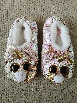 AU5.52 • Buy Girls Sparkly Wide Eyed Unicorn Slippers TY Size 4 Slippers