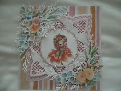 £1.10 • Buy Handmade Card Topper - Girl & Flowers- Ideal For Birthdays & Other Occasions