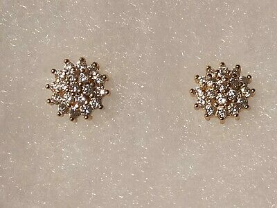 £45 • Buy Ladies/womens, 9ct/9carat Yellow Gold Stud Earrings With .50ct Diamond Cluster