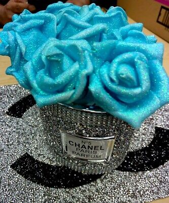 £25 • Buy Crushed Crystal Diamond Bling Silver Crystal Vase With Foam Flowers