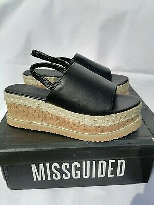 £8 • Buy Missguided Ladies Black & Rope Detail Wedge Shoes Size Uk 7 New