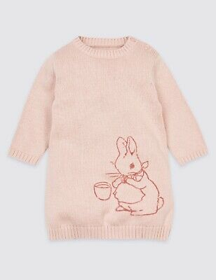 £4.50 • Buy Baby Girls Pink Peter Rabbit Knitted Jumper Dress Up To 1 Month BNWT
