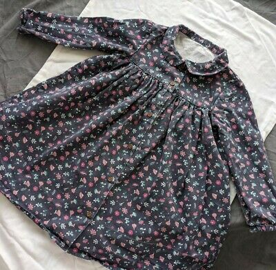 £3 • Buy Dark Blue Floral Button Up Long Sleeve Baby Girl Dress 12-18 Month's Nutmeg