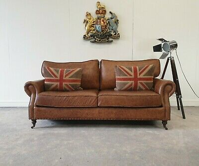 £1199 • Buy 56.timothy Oulton Halo Balmoral Leather Three Seater Club Chesterfield Sofa