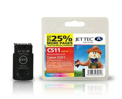 £12.49 • Buy JetTec C511 Ink Fit Canon CL-511 Colour Ink Cartridge 2972B001AA - IP2700 IP2702