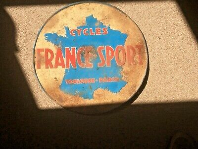 £175 • Buy Antique  Round Painted Tin Advertising Sign Showing France Sport Across  And Cyc