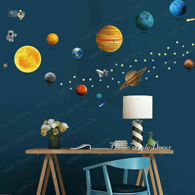 Spaceship Astronaut Planet Star  Wall Stickers LARGE SIZE Kids Bedroom Decor • 10.98£