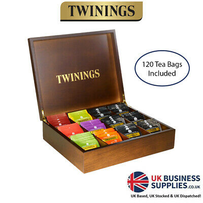Twinings 12 Wooden Compartment Tea Chest Box & 120 Mixed Tea - Great Present • 38.79£