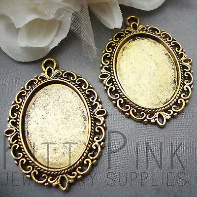 25x18 Gold Plated Cameo Cabochon Settings Vintage • 0.99£
