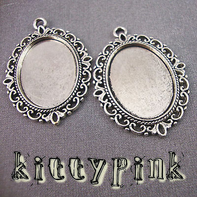 25x18mm Silver Plated Cameo Cabochon Settings Vintage • 0.99£