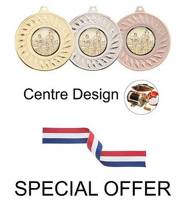 £12.50 • Buy SPECIAL OFFER 10 X Fishing 50mm Metal Medals & Ribbons Gold Silver And Bronze
