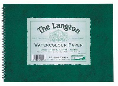 Daler Rowney Langton Watercolour 140lb Spiral NOT 20x16 • 32.99£