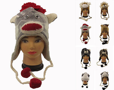 Animal Design Hats Kids Adults Nepal Hat , One Size, 100 % Wool, Hand Made. 35 • 4.95£