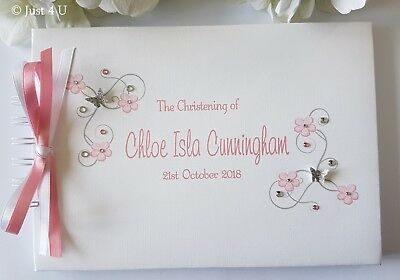 £13.99 • Buy Personalised Christening/ Naming Day /guest Book - Pink Or Blue!