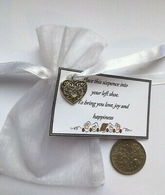Lucky Silver Sixpence & Gift Tag - Bride On Wedding Day • 1.99£