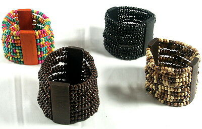 Wooden Bead Stretch Elastic Cuff Bangle Bracelet 5 Cm Wide 10 Row Unisex New • 3.49£