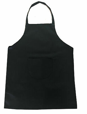 £4.99 • Buy CHEFS APRON Black 100% Cotton Catering Cooking BBQ With Bib Pockets Heavy Duty