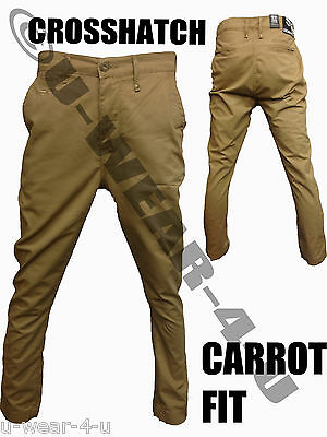 Mens Crosshatch Carrot Fit Chino Trousers. From Sizes 28  To 36 . • 18.99£