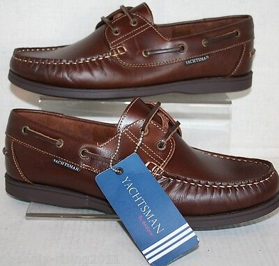 Mens Brown Real Leather Yachtsman Seafarer Lace Up Deck Shoe 7 8 9 10 1112 13 14 • 32.99£