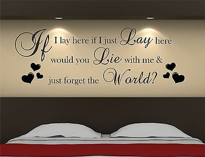 IF I LAY HERE SNOW PATROL Wall Art Sticker, Decal, Graphic B15 • 9£