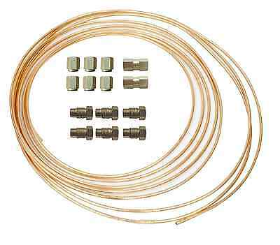 Brake Pipe Copper Line 3/16 25ft Joiner Male Female Nuts Ends Tubing Joint Kit   • 12.50£