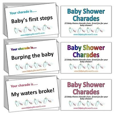 CHARADES - Baby Shower Party Game - Boy Blue, Girl Pink, Neutral Rainbow Unisex • 3.99£